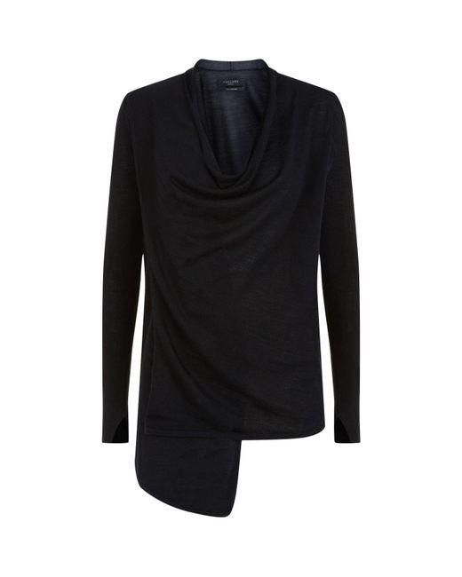 AllSaints - Black Drina Ribbed Cardigan - Lyst