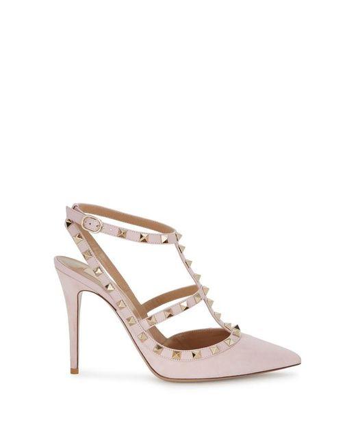 Valentino - Rockstud 100 Pink Suede Pumps - Lyst
