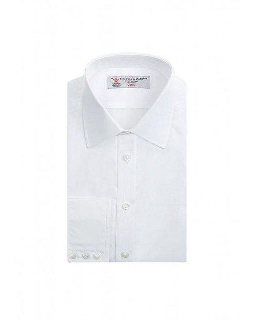 Turnbull and Asser | Blue Classic Fit Plain White Shirt for Men | Lyst
