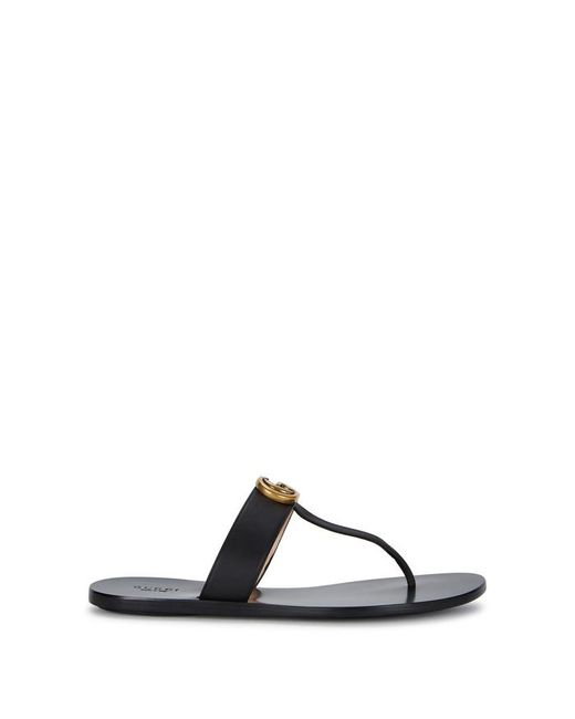e55944d038b ... Gucci - Black Leather Thong Sandals With Double G Logo - Lyst ...