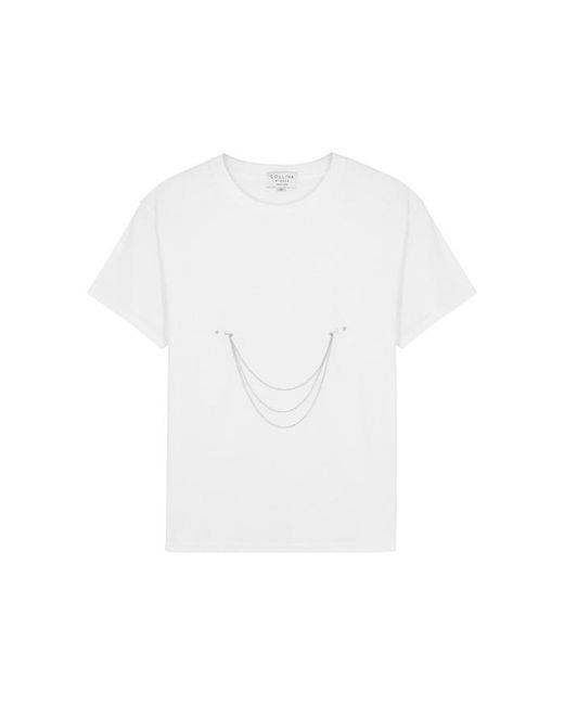 Collina Strada - White Pierced Chain-embellished Cotton T-shirt - Lyst