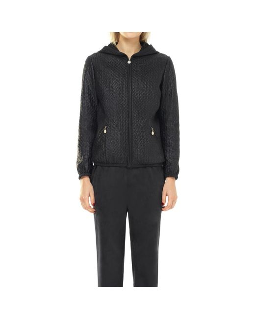 Leon Max - Black Coated Textured Mesh Zip-up Bomber Jacket - Lyst
