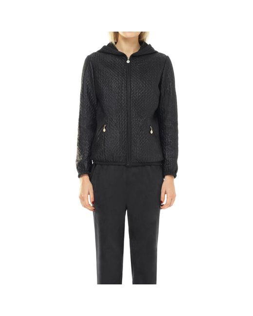 Max Studio - Black Coated Textured Mesh Zip-up Bomber Jacket - Lyst