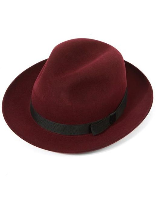 Christys  Epsom Fur Felt Racing Trilby in Red for Men - Save ... 11a98bb8e84