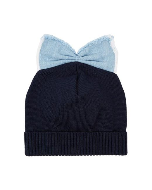 Federica Moretti Black Bow-embellished Cotton Beanie in Blue - Lyst e3380fb3b9f9