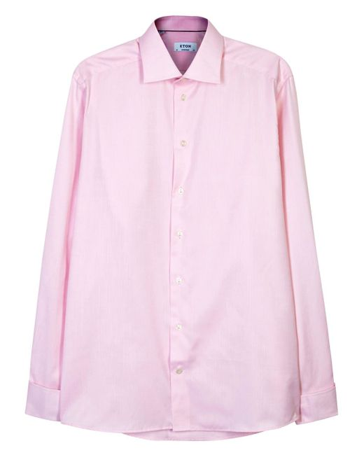 Eton of Sweden | Pink Contemporary Herringbone Cotton Shirt - Size 16 for Men | Lyst