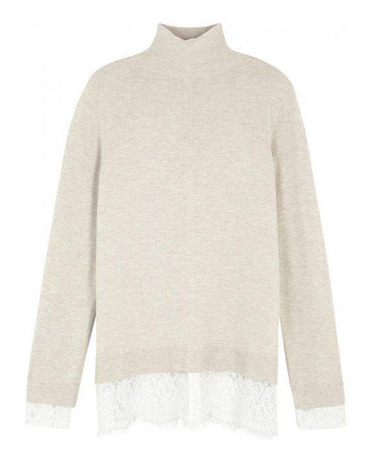 Joie | Natural Frederika Lace-trimmed Jumper | Lyst