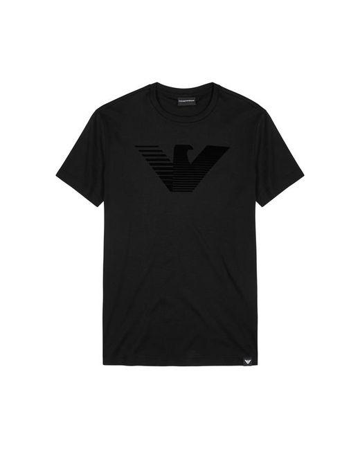 Emporio Armani | Black Flocked Logo Cotton T-shirt for Men | Lyst