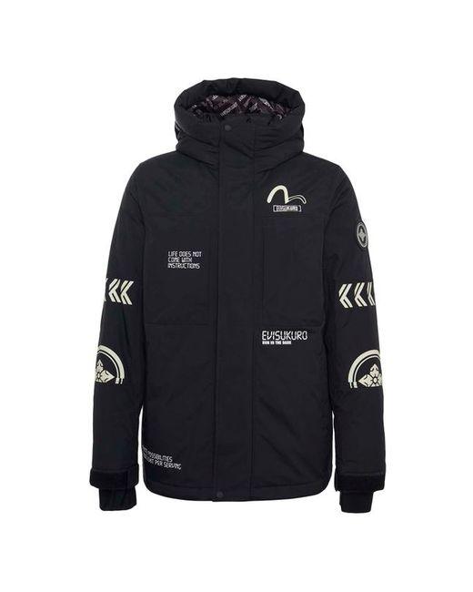 896751cf3966 Evisu Hooded Down Jacket With Bold K Logo Print in Black for Men - Lyst