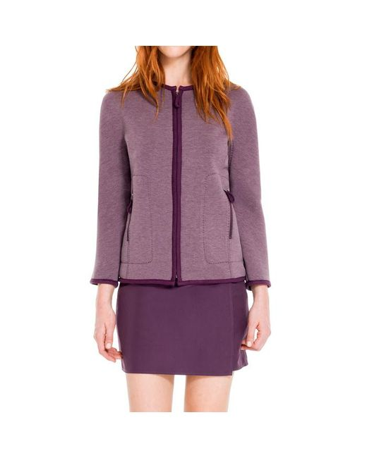 Max Studio - Purple Heathered Bonded Jersey Zip Front Jacket - Lyst