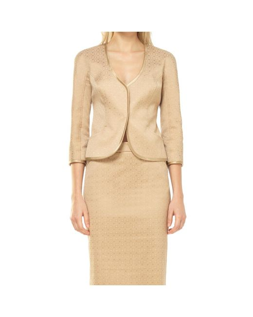 Max Studio - Natural Stretch Jacquard Fitted Jacket - Lyst