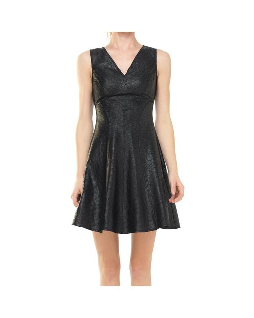 Leon Max - Black Fit And Flare Coated Applique Dress - Lyst