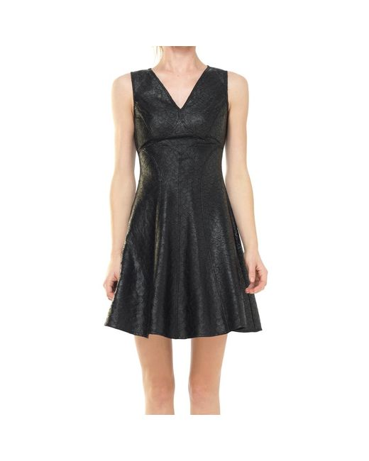 Max Studio - Black Fit And Flare Coated Applique Dress - Lyst