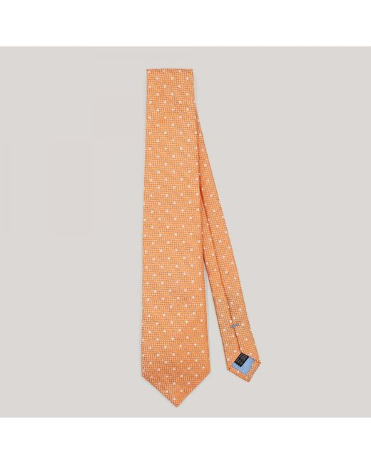 Harvie and Hudson - Orange With White Spot Woven Silk Tie for Men - Lyst