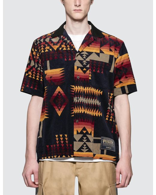 Sacai - Blue Pendleton Print Shirt for Men - Lyst