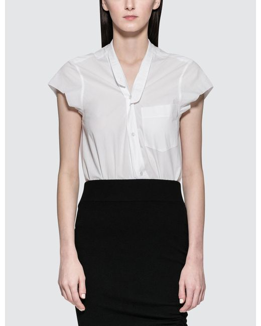 Alexander Wang - White Washed Cotton Poplin Bodysuit With V-neck - Lyst