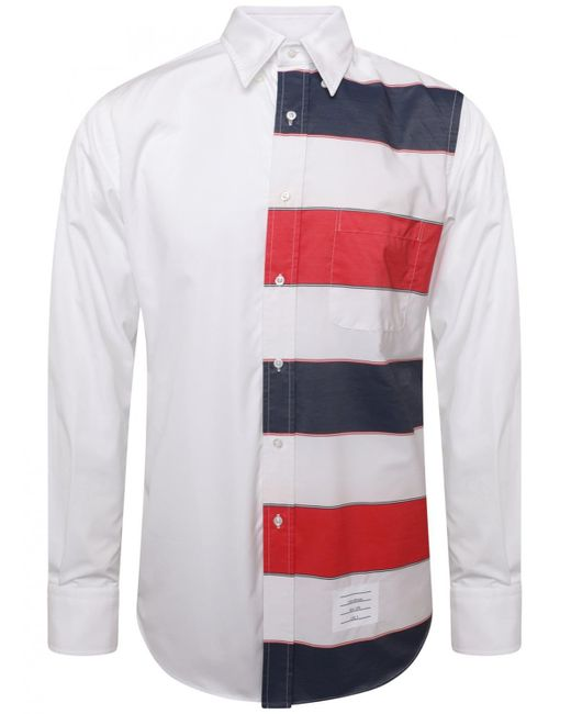 Thom Browne - Funmix Stripe Poplin Shirt White for Men - Lyst