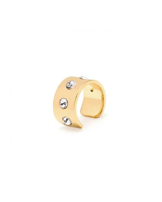 Maria Francesca Pepe   Metallic Thin Stone Encrusted Ear Cuff Gold   Lyst