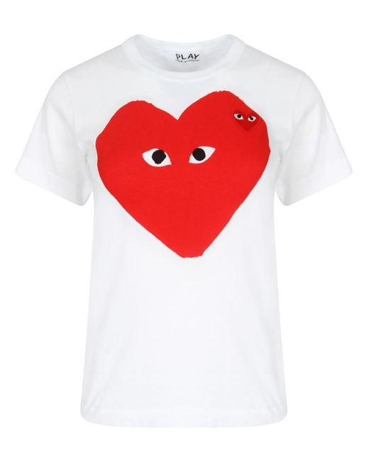 Comme Des Gar Ons Play Women 39 S Big Red Heart T Shirt White