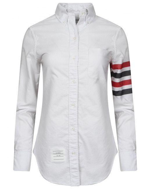 Thom browne bar stripe oxford shirt white in white for men for Thom browne white shirt