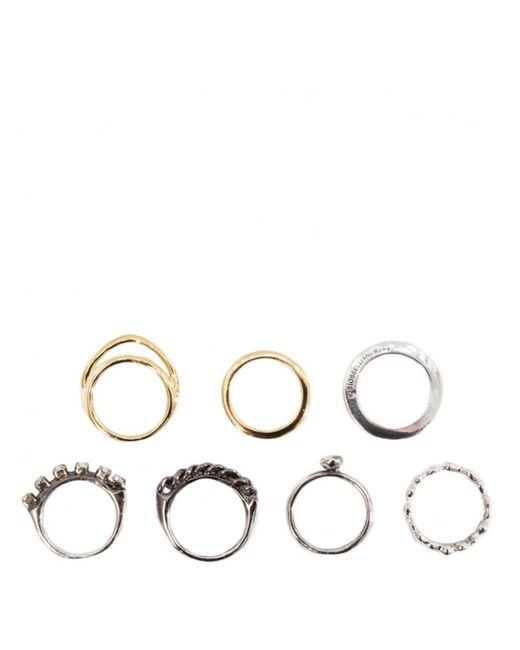 Iosselliani - Metallic Set Of Seven Plated Rings Silver - Lyst