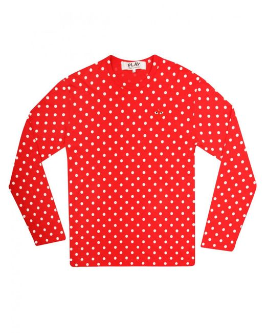 Lyst - Comme Des Garçons Play Womens Polka Dot T-shirt Red in Red