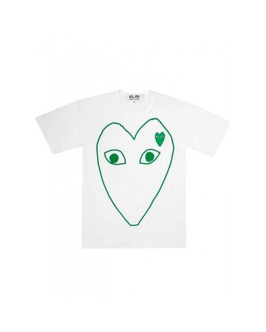 Comme des Garçons | White Green Heart Logo T-shirt for Men | Lyst