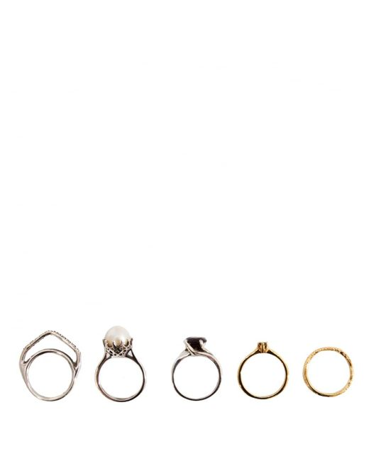 Iosselliani - Metallic Set Of Five Plated Rings Silver - Lyst