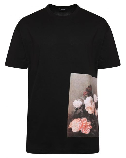 Lyst raf simons abstract flower print t shirt black in for Vista print tee shirt