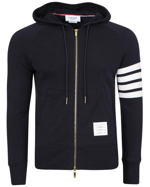 Thom Browne - Blue Classic Navy Zip Up Armband Hoodie for Men - Lyst