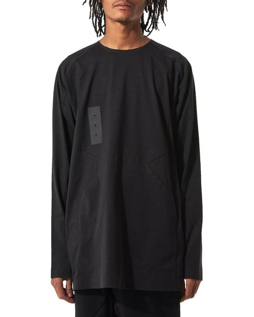 Y-3 | Black Patchwork Long-sleeve Tee for Men | Lyst