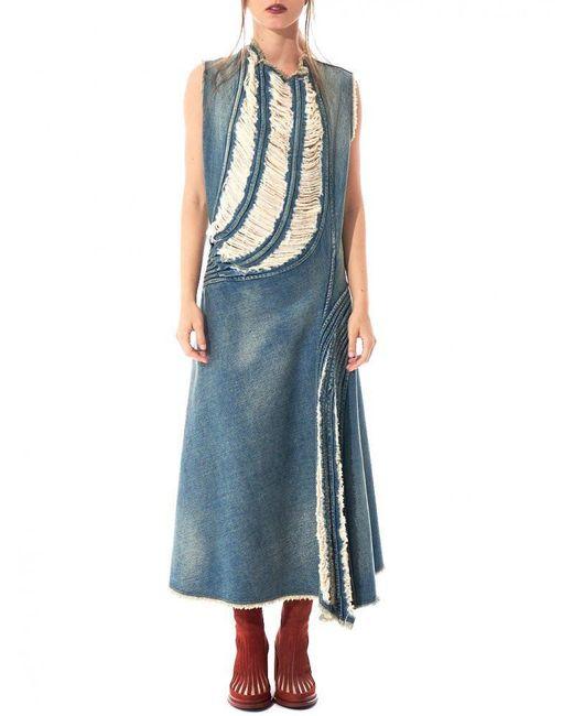 Junya Watanabe | Blue Distressed Denim Dress | Lyst