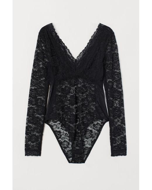 ffddddf7336 H&M Long-sleeved Lace Body in Black - Lyst