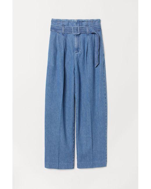 H&M - Blue Paper Bag Trousers - Lyst