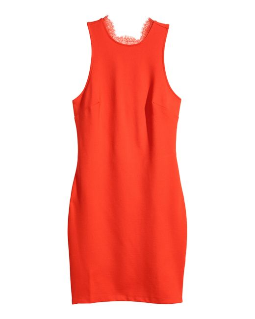 H&M - Red Fitted Dress - Lyst