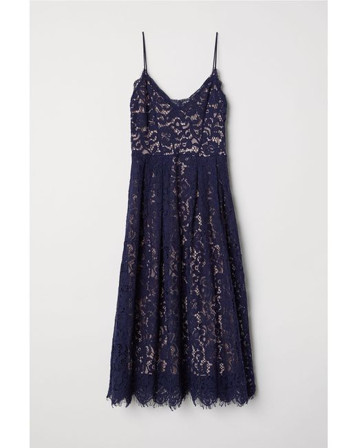 H&M - Blue Lace Dress - Lyst
