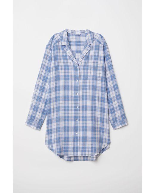 H&M - White Flannel Nightshirt - Lyst