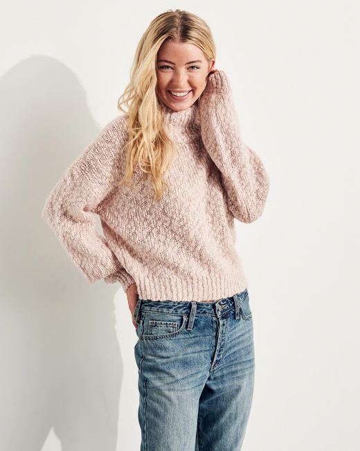 Hollister Shine Chunky Turtleneck Sweater in Pink - Save 52% | Lyst