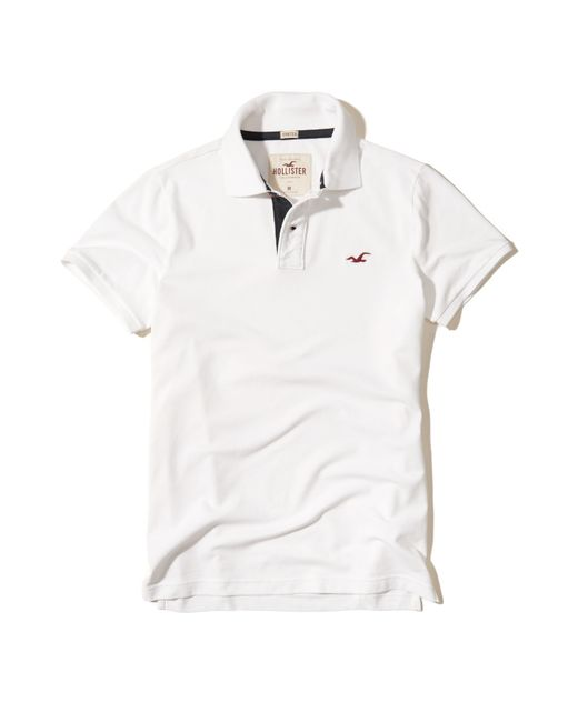 Hollister | White Stretch Pique Icon Polo for Men | Lyst
