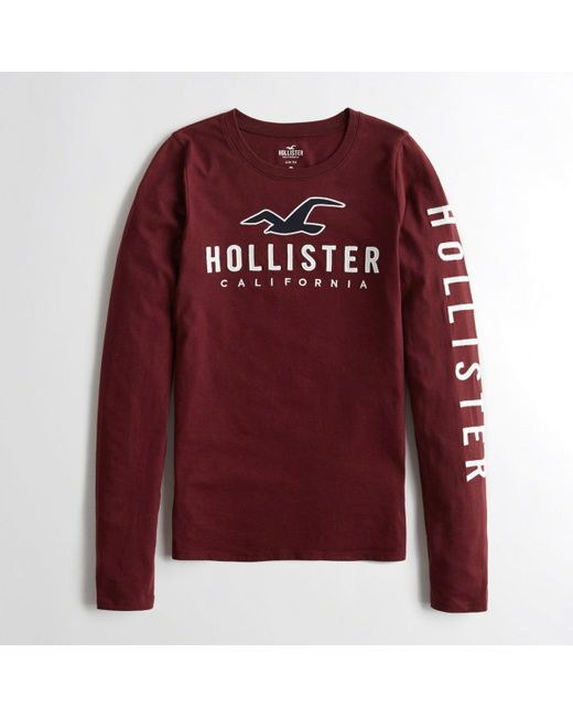494475eb Lyst - Hollister Girls Logo Graphic Tee From Hollister in Red for Men