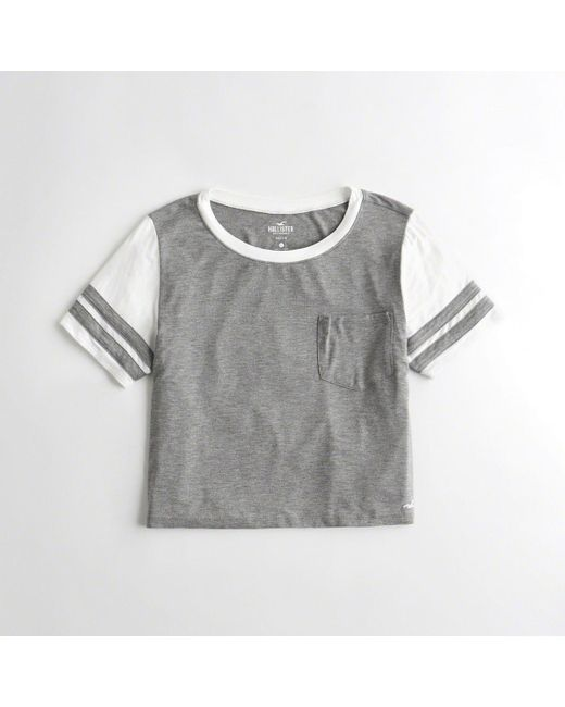 44892ebc Lyst - Hollister Girls Colorblock Crop T-shirt From Hollister in Gray