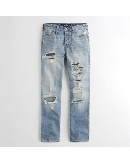 Hollister - Blue Jeans Slim Fit Destroyed Light Wash for Men - Lyst ...