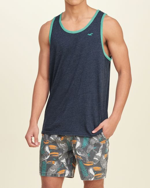 Hollister must have contrast trim tank in blue for men lyst for Must have dress shirts