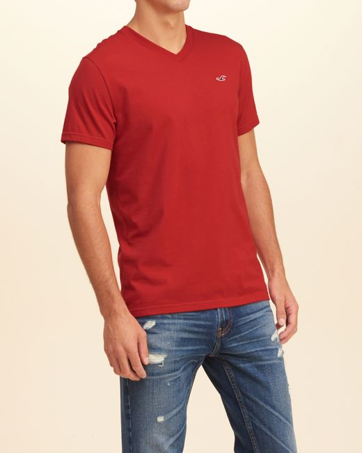 Hollister must have v neck t shirt in red for men lyst for Must have dress shirts