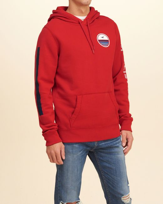 hollister printed logo graphic hoodie in red for men lyst
