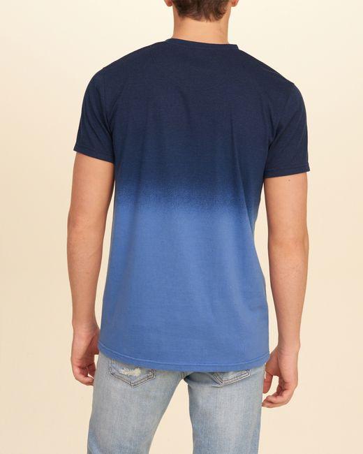 Hollister dip dye crew t shirt in blue for men lyst for Mens dip dye shirt