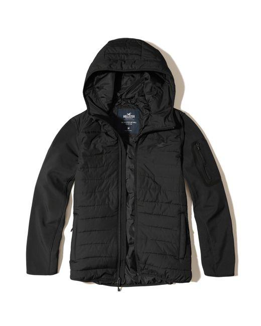 hollister softshell puffer jacket in black for men lyst
