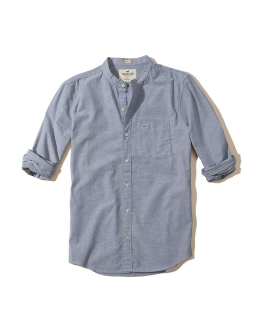 Hollister stretch banded collar oxford shirt in blue for for Mens blue oxford shirt