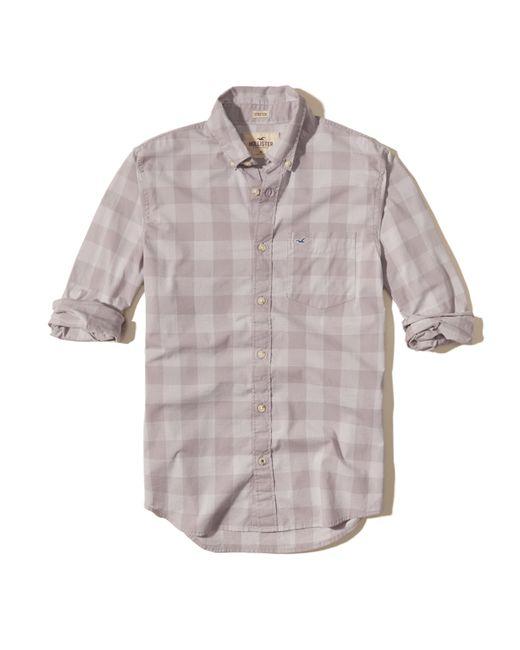 Hollister | Purple Patterned Stretch Poplin Shirt for Men | Lyst