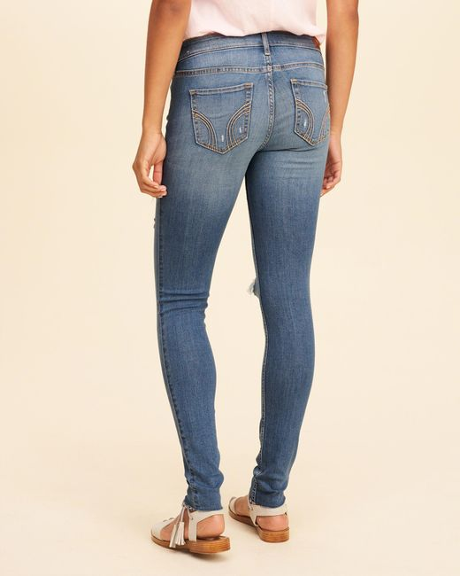 Hollister Low-rise Super Skinny Jeans in Blue - Save 58% ...
